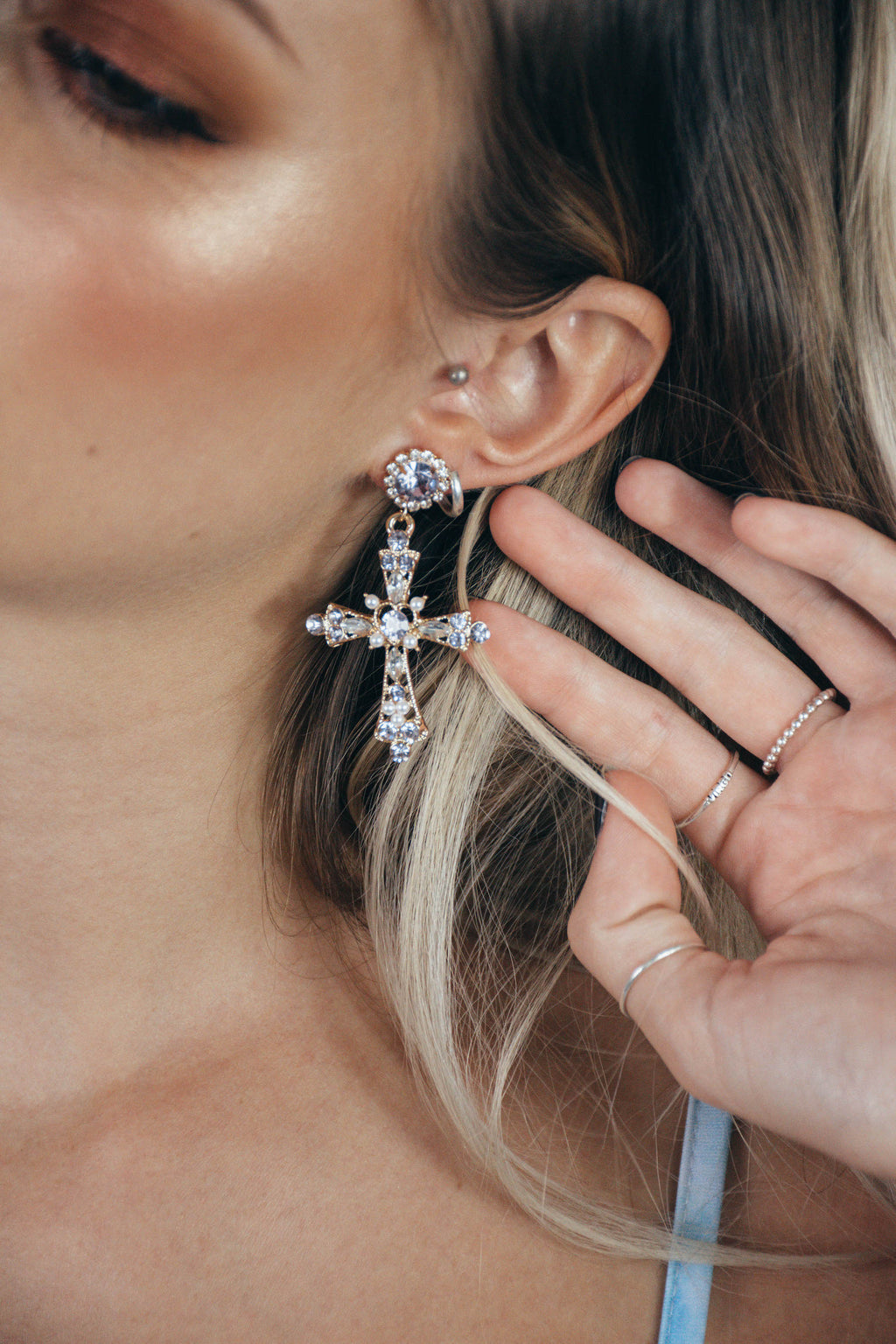 Mauve Cross Earrings
