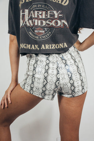 Wild Ride Lace Up Shorts || White Snakeskin
