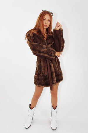 Vintage Luxury Faux Fur Coat with Suede Trim