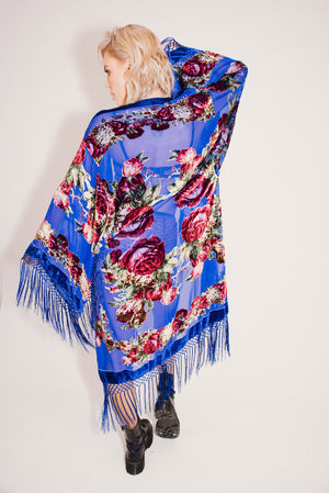 Burnout Velvet Festival Kimono with Fringing || Malibu Rose Full Length