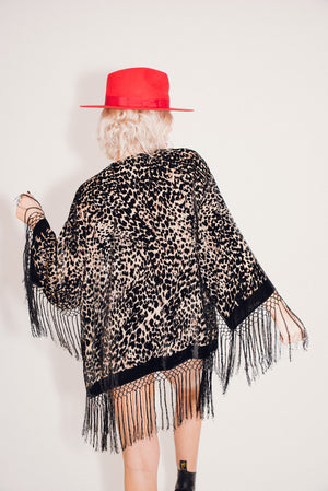 Burnout Velvet Festival Kimono with Fringing || Leopard Print Mid Length