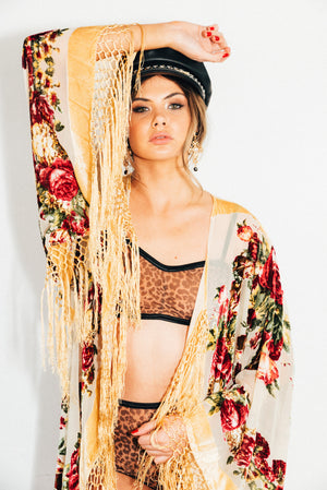 Burnout Velvet Festival Kimono with Fringing || Champagne Rose Full Length