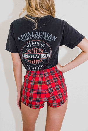 Almost Famous Lace Up Shorts || Red Tartan