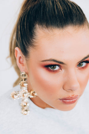 Poppy Gold Cross Statement Earrings