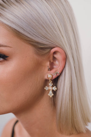 Mary Gold Cross Earrings | SUNSHINE DREAMER ONLINE