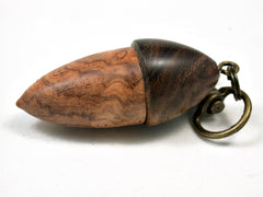 LV-1882 Ambyona Burl & Ironwood Acorn Pendant Charm, Pill Holder-SCREW CAP
