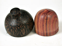 LV-2730 Tulipwood & Black Palm Acorn Jewelry, Ring Box, Pill Box-SCREW CAP