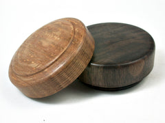 LV-2845  Burr Oak & Black Walnut  Flat Pill Box, Ring Holder, Jewelry Box-SCREW CAP