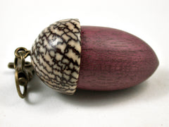 LV-3078  Purpleheart & Betelnut  Acorn Box, Pill Holder, Compartment Pendant-SCREW CAP
