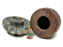 LV-3262  Buckeye Burl  & Black Walnut  Threaded Vessel, Lidded Box,  Urn-SCREW CAP