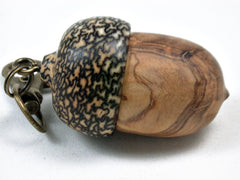 LV-3420  Olive Burl & Betelnut Acorn Pendant Box, Charm, Pill Holder-SCREW CAP