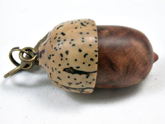 LV-3434  Morrocan Thuya Burl & Yolillo Palm Nut Pendant Box, Charm, Pill Holder-SCREW CAP