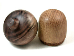 Reserved for Tracey: LV-3493 Oak & Walnut Acorn Jewelry Box, Pill Box, Engagement Ring Box-SCREW CAP