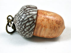 LV-3506 Box Elder Burl & Betel Nut Wooden Acorn Pendant, Charm, Pill Holder-SCREW CAP