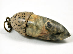 LV-3513  Buckeye Burl & Yolillo Palm Nut Acorn Pendant Box, Charm, Pill Holder-SCREW CAP