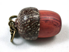 LV-3535 Tulipwood & Betelnut Acorn Pendant Box, Charm, Pill Holder-SCREW CAP