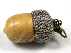 LV-3538  Osage Orange & Betel Nut Acorn Pendant Box, Keychain, Pill Fob-SCREW CAP