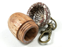 LV-3550  Masur Birch & Betelnut Acorn Box, Pill Holder, Secret Compartment Pendant-SCREW CAP