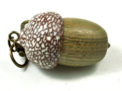 LV-3559  Verawood & Betelnut Acorn Pendant Box, Bag Charm, Keychain-SCREW CAP