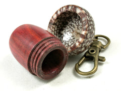 LV-3562  Redheart & Betelnut Hand Turned Acorn Pendant Box, Pill Fob, -SCREW CAP