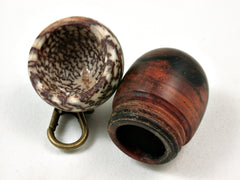 LV-3568   Cocobolo & Betelnut Acorn Key Fob, Pill Holder, Secret Compartment-SCREW CAP