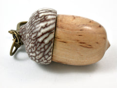 LV-3571  Masur Birch & Betelnut Acorn Box, Pill Holder, Secret Compartment Pendant-SCREW CAP