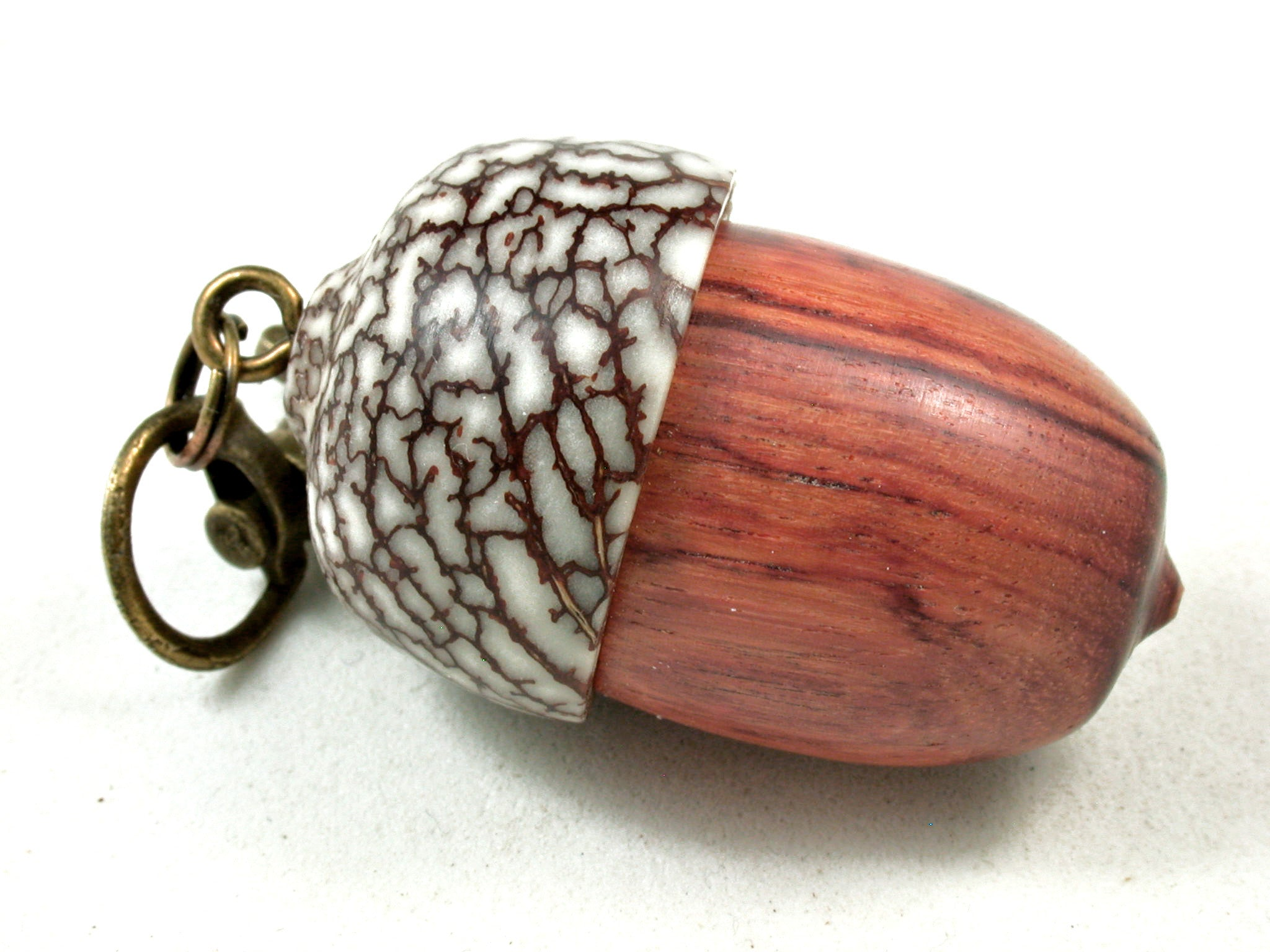 LV-3576 Tulipwood & Betelnut Acorn Pendant Box, Charm, Pill Holder-SCREW CAP