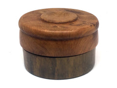 LV-3587  Thuya Burl & Greenheart Flat Pill Box, Ring Holder, Jewelry Box-SCREW CAP