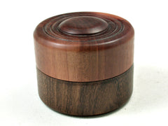 LV-3588  Manzanita & Brown Ebony Flat Pill Box, Ring Holder, Jewelry Box-SCREW CAP