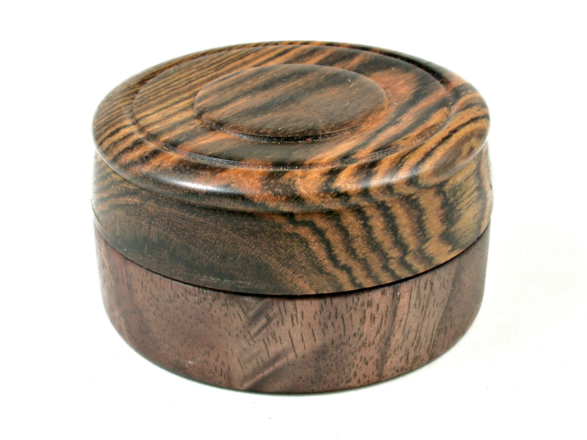 LV-3593  Bocote & Black Walnut Burl  Flat Pill Box, Ring Holder, Jewelry Box-SCREW CAP