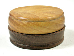 LV-3594  Osage Orange & Mora Flat Pill Box, Ring Holder, Jewelry Box-SCREW CAP