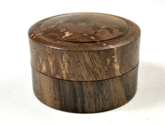 LV-3598  Nagusta  Burl & Black Chacate  Flat Pill Box, Ring Holder, Jewelry Box-SCREW CAP