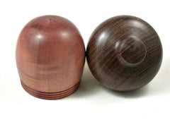 LV-3605 Pink Ivory & Brown Ebony Acorn Pill Box, Jewelry Box, Keepsake-SCREW CAP