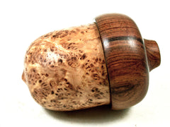 LV-3611  Black Ash Burl  & Tamboti Acorn Pill Box,  Engagement Ring Box-SCREW CAP