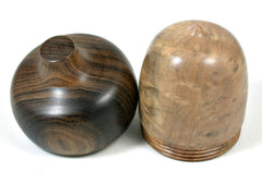 LV-3618  Vitex Burl & Black Chacate Acorn Jewelry, Ring Box, Pill Box-SCREW CAP