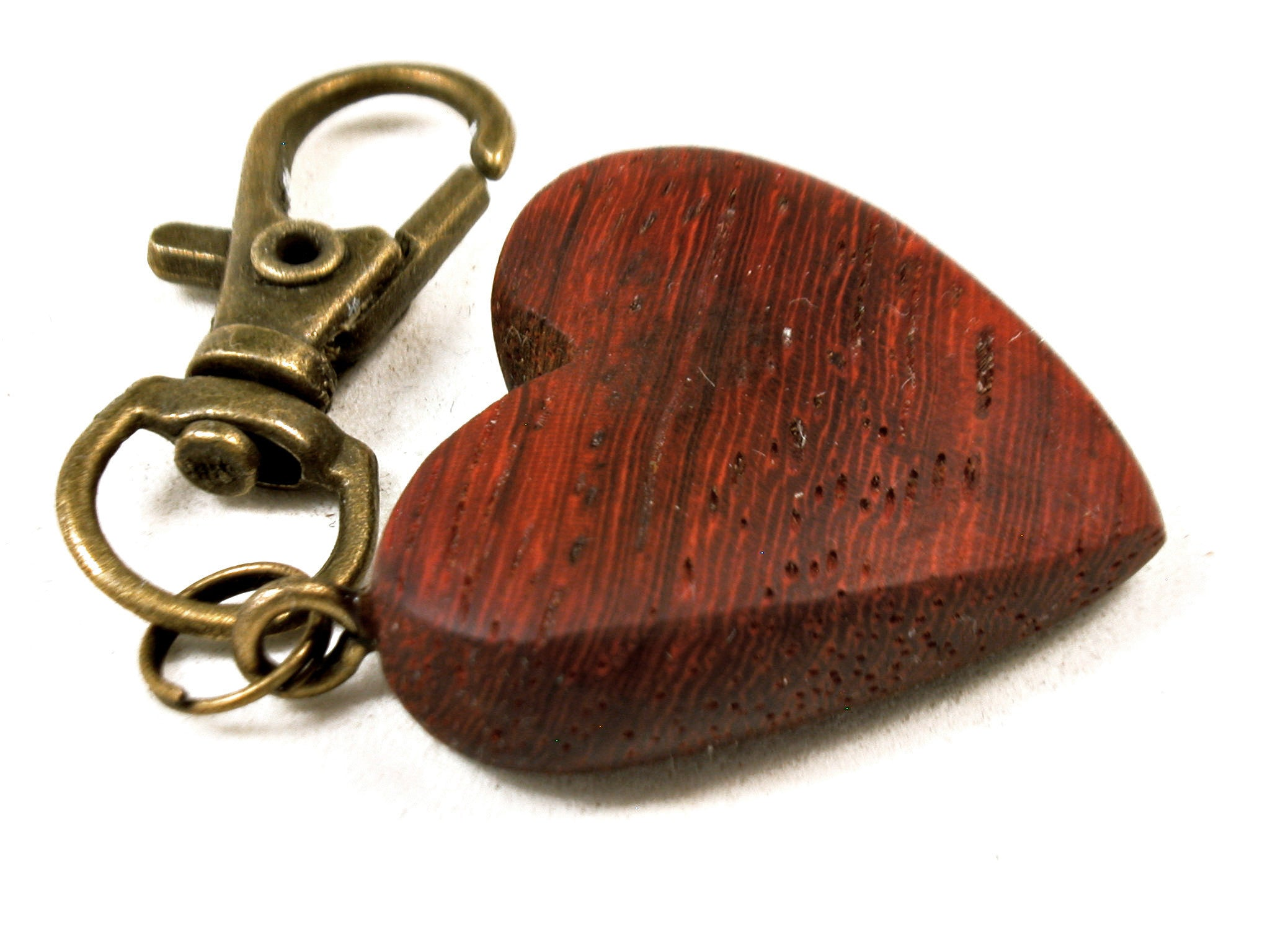 LV-3664  African Padauk Wooden Heart Charm, Keychain, Wedding, Valentine Gift-HAND CARVED