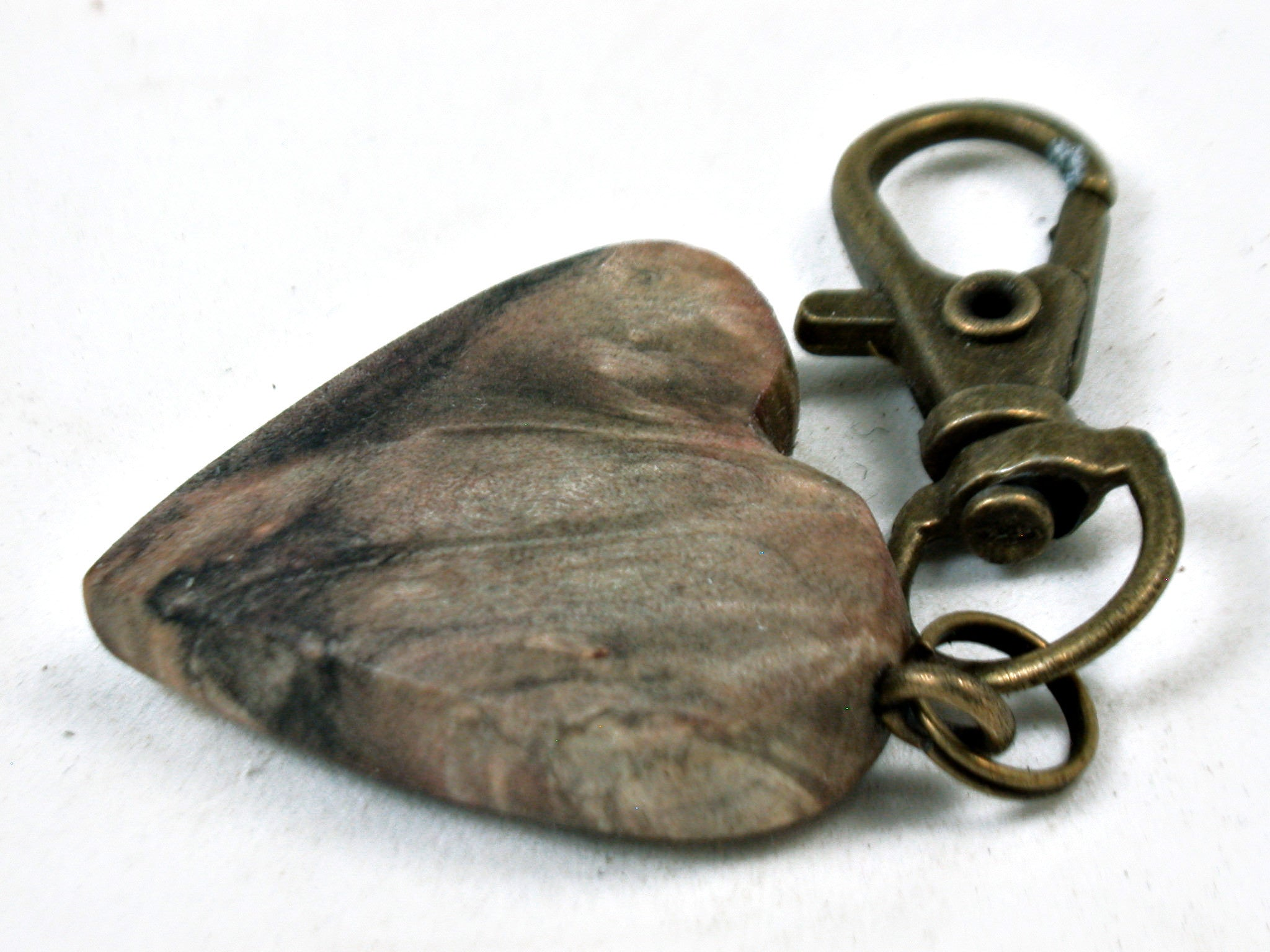 LV-3669 California Buckeye Burl Wooden Heart Shaped Charm, Keychain, Unique Hand Made