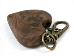 LV-3680  Russian Olive Burl Wooden Heart Charm, Keychain, Wedding Favor-Hand Made