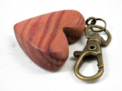 LV-3681 Tulipwood Wooden Heart Charm, Keychain, Wedding Favor-HAND CARVED