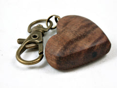 LV-3685  Curly Hawaiian Koa Wooden Heart Shaped Charm, Keychain, Unique Hand Made