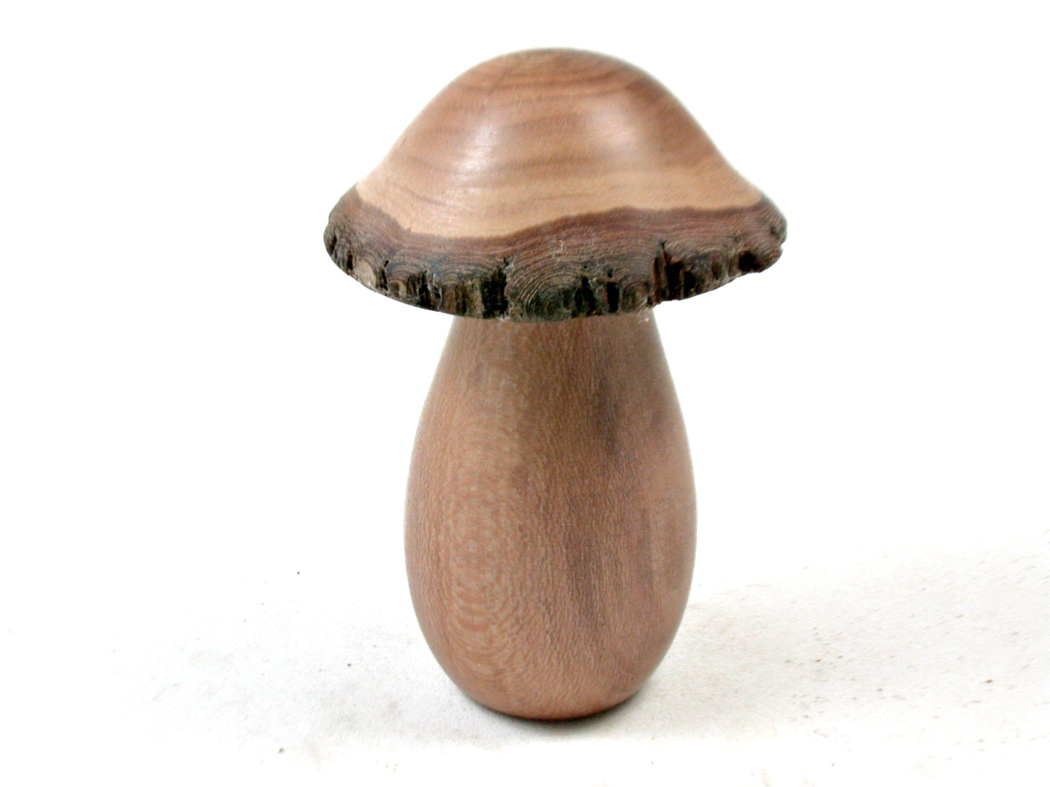 LV-3687  Bottlebrush & Dogwood Wooden Mushroom Box, Pill Box, Secret Compartment-SCREW CAP