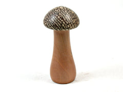 LV-3689  Betelnut & Mt. Mahogany Wooden Mushroom Box, Pill Box, Secret Compartment-SCREW CAP