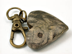 LV-3707 California Buckeye Burl Wooden Heart Shaped Charm, Keychain, Unique Hand Made