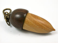 LV-3725  Osage Orange & Lignum Vitae Acorn Pendant Box, Charm, Pill Holder-SCREW CAP