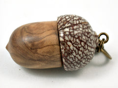 LV-3726  Olive Burl & Betelnut Acorn Pendant Box, Charm, Pill Holder-SCREW CAP