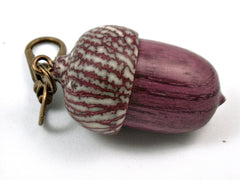 LV-3737  Purpleheart & Betelnut  Acorn Box, Pill Holder, Compartment Pendant-SCREW CAP