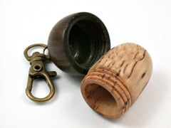 LV-3739  Masur Birch & Lignum Vitae Acorn Box, Pill Holder, Secret Compartment Pendant-SCREW CAP