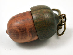 LV-3741 Amboyna Burl & Verawood Acorn Pendant Box, Bag Charm, Pill Holder-SCREW CAP