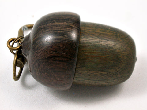 LV-3743  Verawood &Burmese Blackwood Acorn Pendant Box, Charm, Pill Holder-SCREW CAP