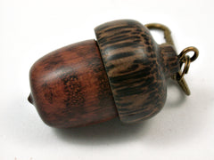 LV-3745   Snakewood & Black Palm  Acorn Pendant Box, Pill Box-SCREW CAP